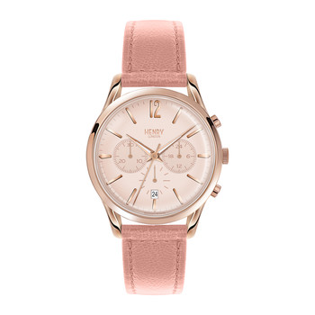 Shoreditch Pink Leather Strap Watch with Trio Dial