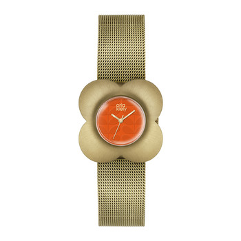 Ladies Poppy Mesh Strap Watch - Gold