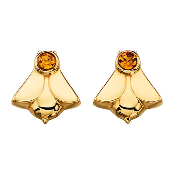 Gold Plated Bee Stud Earrings with Swarovski Crystals