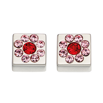 Flower Cube Earrings with Swarovski Crystals