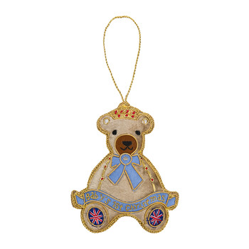 Baby's First Christmas Bear Tree Decoration - Blue