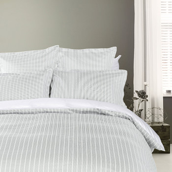 Sateen Stripe Duvet Cover - Gray