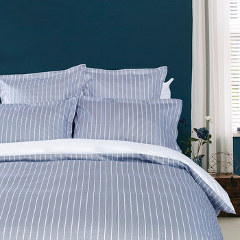 Sateen Stripe Duvet Cover - Navy
