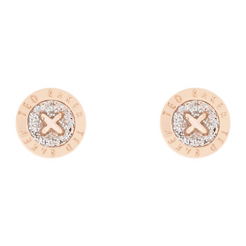 Eisley Mini Button Earring - Rose Gold - Silver