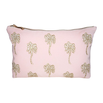 Palmier Velvet Wash/Clutch Bag - Rosewater