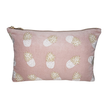 Ananas Velvet  Wash/Clutch Bag - Mauve