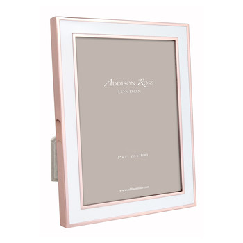 Rose Gold White Enamel Photo Frame - 5x7""
