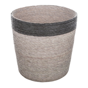 Stripe Waste Basket - Black