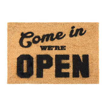 We're Open Door Mat