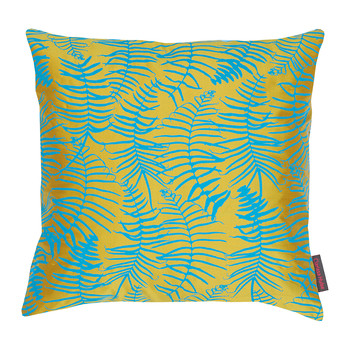 Feather Fern Pillow - 45x45cm - Tumeric/Kingfisher