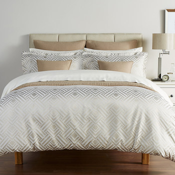 Deco Diamond Duvet Set - Linen