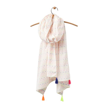Carnival Scarf with Tassels - Bright White