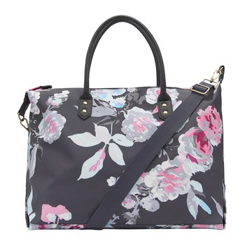 Kembry Printed Overnight Canvas Bag - Gray Beau Bloom