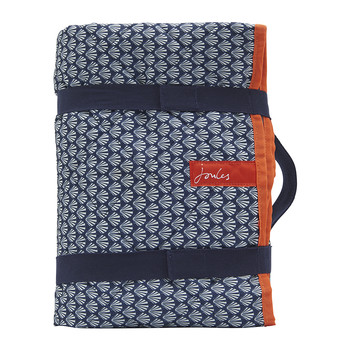 Printed Picnic Rug with Carry Strap - French Navy Shells