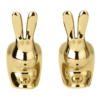 Rabbit Salt & Pepper Shaker Set - Brass