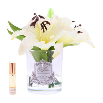 Oriental Lillies in Clear Glass - Ivory