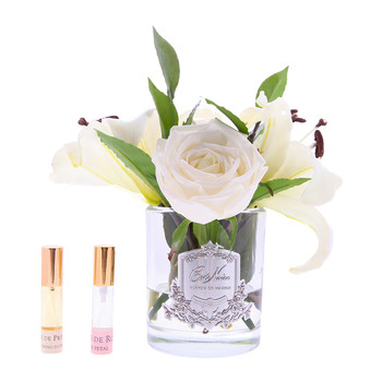 Lillies & Roses in Clear Glass - Ivory