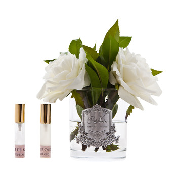 English Roses in Clear Glass - Ivory