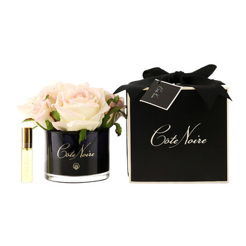 Roses in Black Glass with Giftbox - Blush