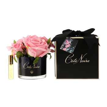 Roses in Black Glass with Giftbox - Pink