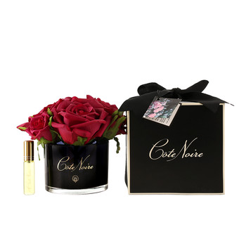 Roses in Black Glass with Giftbox - Carmine Red