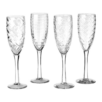 Clear Cuttings Champagne Glass - Set of 4