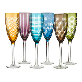 Mixed Cuttings Champagne Glass - Set of 6