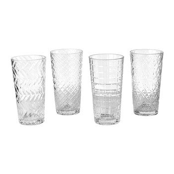 Clear Cuttings Long Drink Glass - Set of 4