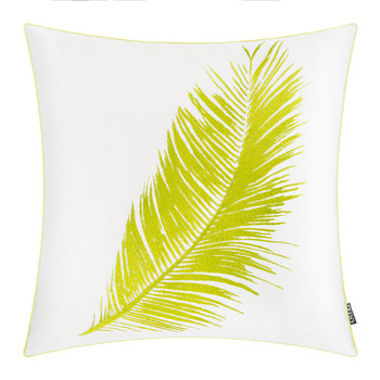 Palm Leaf Linen/Cotton Cushion - 45x45cm - Lime/White