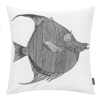 Anax Silk Dupion Pillow - 40x40cm - Black/White - Black/White