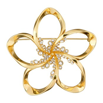 Belvas Crystal Blossom Brooch - Gold/Crystal