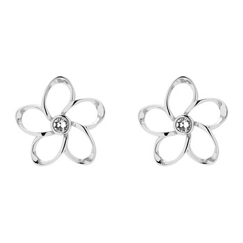 Basilio Mini Crystal Bloom Earrings - Silver/Crystal