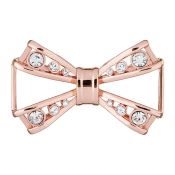 Joasia Jewelled Bow Brooch - Rose Gold/Crystal