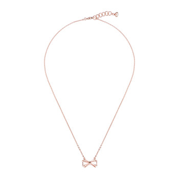 Signy Silver Bow Necklace - Rose Gold