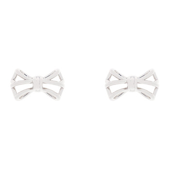 Gleda Small Geometric Bow Earrings - Silver