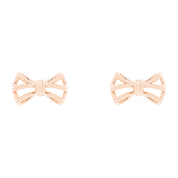 Gleda Small Geometric Bow Earrings - Rose Gold