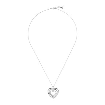 Helinna Crystal Spinning Heart Necklace - Silver
