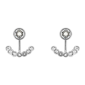 Coraline Concentric Crystal Earrings - Silver