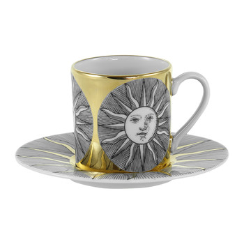 Sole Espresso Cup & Saucer - Black/White/Gold