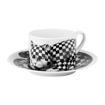 High Fidelity Teacup & Saucer - Quadretato