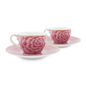 Spring To Life Espresso Cup & Saucers - Set of 2 - Pink