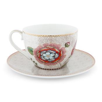 Spring To Life Cappuccino Cup & Saucer - Cream