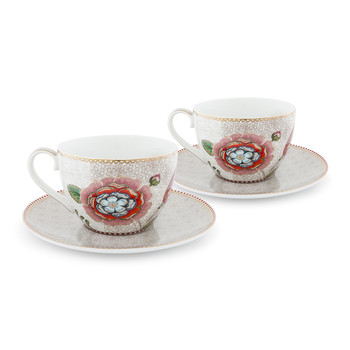Spring To Life Cappuccino Cup & Saucer - Set of 2 - Cream
