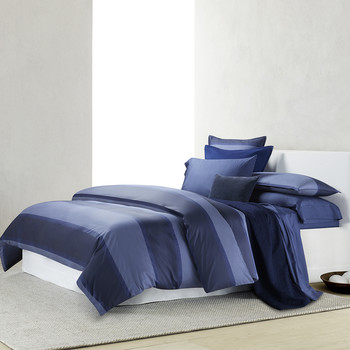 Banded Net Duvet Cover - Navy
