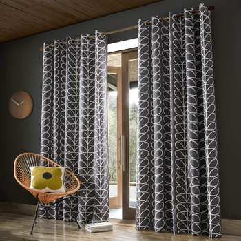 Linear Stem Eyelet Curtains - Charcoal