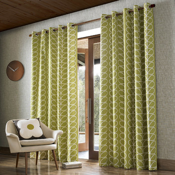 Linear Stem Eyelet Curtains - Olive