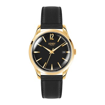 Westminster Black Leather Strap Watch with Black Face