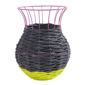 Marie Fluo Basket with Lip - Gray/Yellow