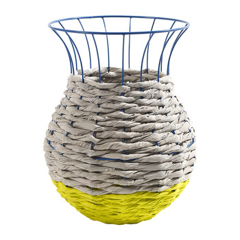 Marie Fluo Basket with Lip - Light Grey/Yellow