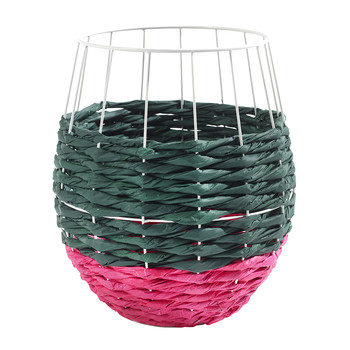Marie Fluo Rounded Basket - Green/Pink